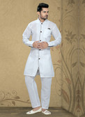 Designer White  White Poly Cotton Poly Cotton Kurta Pyajama D1021511967