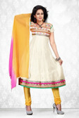 Indian Bollywood Pakistani Chanderi Salwar Kameez Suit White Color