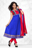 Indian Bollywood Pakistani Chanderi Salwar Kameez Suit Blue Color