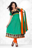 Indian Bollywood Pakistani Chanderi Salwar Kameez Suit Green Color