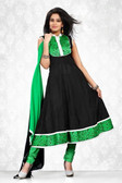 Indian Bollywood Pakistani Chanderi Salwar Kameez Suit Black Color