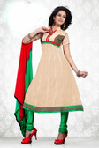 Indian Bollywood Pakistani Chanderi Salwar Kameez Suit Beige Color
