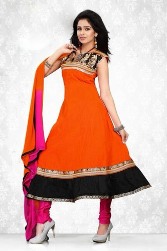 Indian Bollywood Pakistani Chanderi Salwar Kameez Suit Orange Color