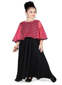 Stylish Designer Black  Pink  Georgette  Net  Readymade Gown D1022013150