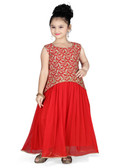 Stylish Designer Red  Georgette  Readymade Gown D1022013151