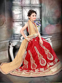 Stylish Trendy Red Red Banglori Silk Net Kid'S Wear Lehenga D1022014486