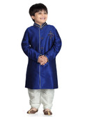Stylish Designer Royal Blue Off White Art Dupion Art Dupion Re Kurta Pajama D1022613175