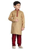 Stylish Trendy Dark Gold Marron Jaquard Art Dupion Readymade K Kurta Pajama D1022613183