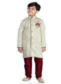 Stylish Designer Cream Marron Jaquard Art Dupion Readymade Kur Kurta Pajama D1022613187