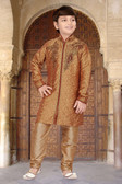 Stylish Designer Chikoo With Marron Chikoo Jaquard Art Dupion Kurta Pajama