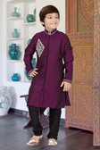 Stylish Designer Purple Black Jaquard Art Dupion Readymade Boy Kurta Pajama D1022617365