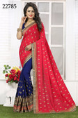 Vibrant & Gorgeous Pink And Blue Colored Crush Bamberg Georgette Saree