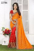 Vibrant & Gorgeous Orange And Red Colored Crush Bamberg Georgette Saree