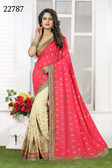 Vibrant & Gorgeous Pink And Beige Colored Crush Bamberg Georgette Saree