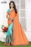 Vibrant & Gorgeous Orange And Blue Colored Crepe Silk Saree