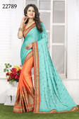 Vibrant & Gorgeous Blue And Orange Colored Crepe Silk Saree