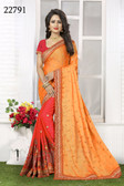 Vibrant & Gorgeous Yellow And Peach Colored Crepe Silk Saree