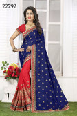 Vibrant & Gorgeous Blue And Pink Colored Crush Bamberg Georgette Saree