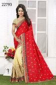 Vibrant & Gorgeous Red And Beige Colored Crush Bamberg Georgette Saree