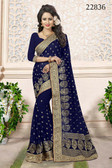 Gorgeous & Attractive Blue Colored Georgette Designer Saree