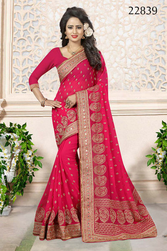 Gorgeous & Attractive Pink Colored Georgette Designer Saree