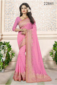 Gorgeous & Attractive Pink Colored Georgette Premium Saree