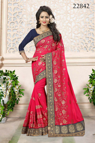 Gorgeous & Attractive Pink Colored Georgette Chic Saree