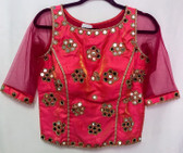 Saree Blouse Choli Rose Red Mirror work  Padded  Designer Brocade 140617194