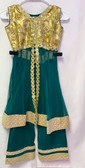 Stylish Designer Teal Green Gold Color Net  Dress 200617902