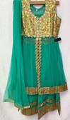 Stylish Designer Turquoise Gold Color Net  Dress 200617926