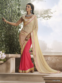Gorgeous Dusty Pink & Cream Color Peal Shine + Georgette Saree
