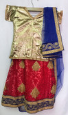 Stylish Premium Gold Red Color Net Georgette  Lehenga 200617943