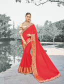 Enthralling Red Colored Designer Hand Work Saree In Pure Viscose Zari Jacquard Georgette