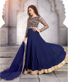 Elegant & Gorgeous Blue & Cream Designer Semi Stiched Georgette Salwar Suit