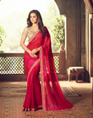 Exquisitely Designed Reddish Pink Colored Georgette Chiffon Pretty Saree