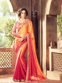 Exquisitely Designed Orange Colored Crepe Silk Saree