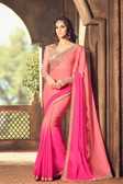 Exquisitely Designed Baby Pink Colored Chiffon Saree