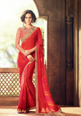 Exquisitely Designed Reddish Pink Colored Georgette Chiffon Premium Saree