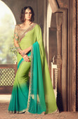 Exquisitely Designed Green Colored Georgette Chiffon Saree