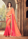 Exquisitely Designed Peach Colored Georgette Chiffon Saree