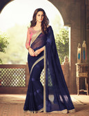 Exquisitely Designed Dark Blue Colored Satin Chiffon Saree
