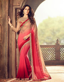 Exquisitely Designed Red & Pink Colored Georgette Chiffon Saree