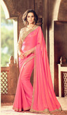 Exquisitely Designed Pink Colored Crepe Silk Pretty Saree