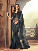 Exquisitely Designed Black Colored Georgette Chiffon Saree