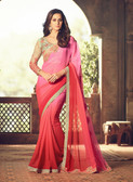 Exquisitely Designed Pink Colored Georgette Chiffon Saree
