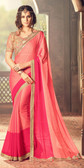 Exquisitely Designed Pink Colored Crepe Chiffon Saree