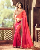 Exquisitely Designed Peach & Pink Colored Crepe Chiffon Saree