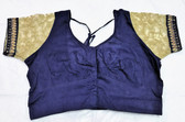 Saree Blouse Choli Blue Shimmer Plain Designer Brocade 140717134