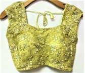 Saree Blouse Choli Yellowish Gold Ebroidery Padded  Designer Brocade 140717151