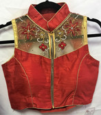 Saree Blouse Choli Padded Red Net Embroidery Designer 140717181